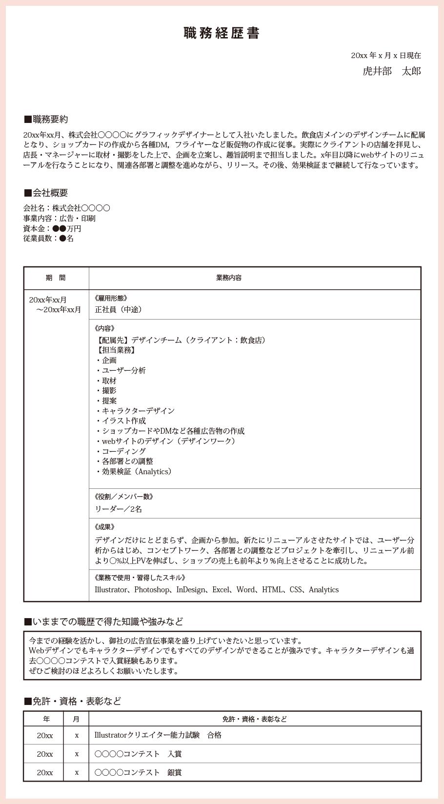 職務経歴書サンプル:クリエイター