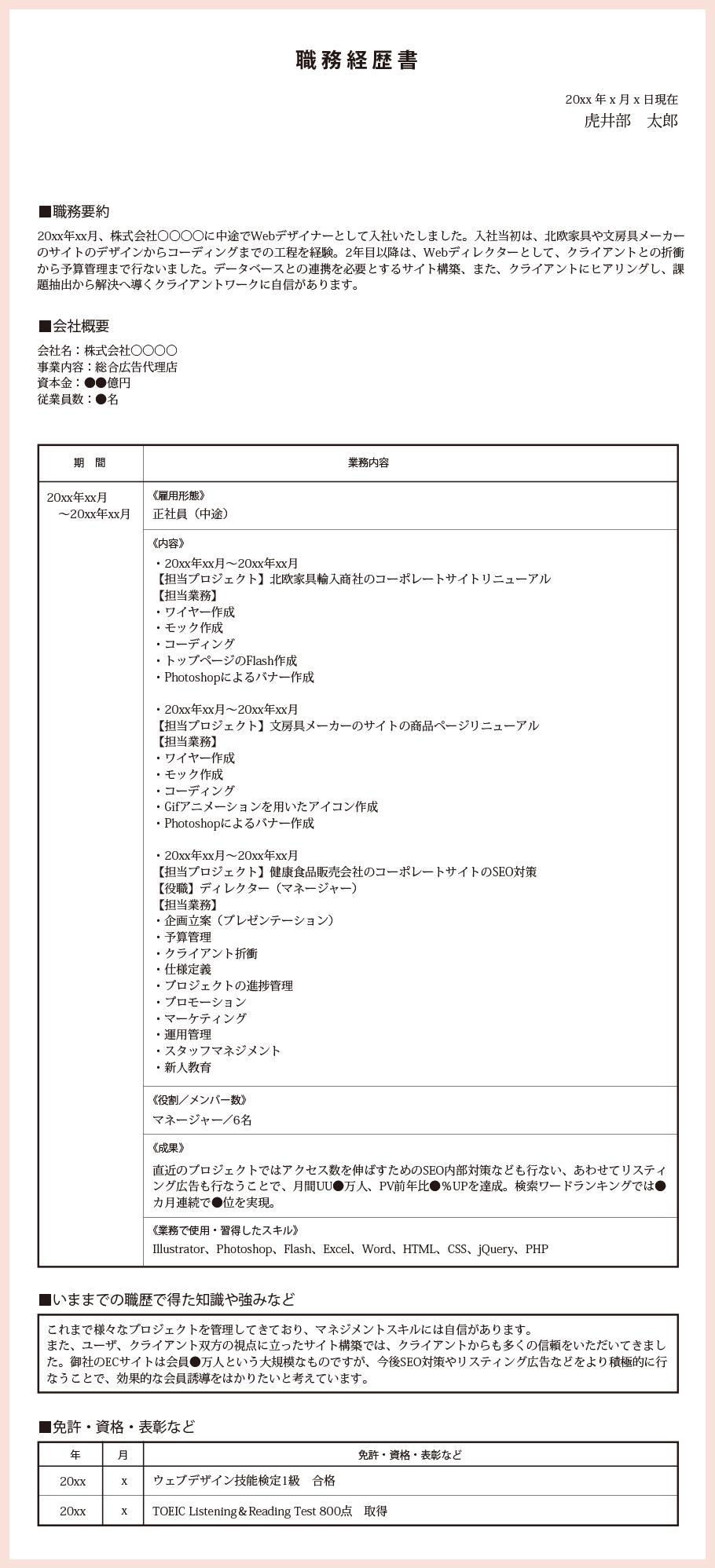 職務経歴書サンプル:ディレクター